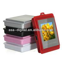 "1.5"" USB 2.0 LCD Mini Digital Photo Picture Frame Keychain 16M Black + Clock"