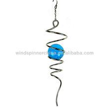 wind spinner--spiral w/light blue gazing ball
