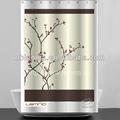 100% poliester cortina de ducha, impreso flor de melocotón cortina de la ducha hookless con