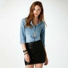 Fashion Cheap Short Vintage Womens Girls Suspender Colored Denim Skirts