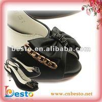SF0124 Decorative custom black leather bow ladies shoe adornments