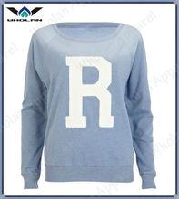 Atacado moda de nova R azul applique das mulheres ocasional do time do colégio camisa camisola