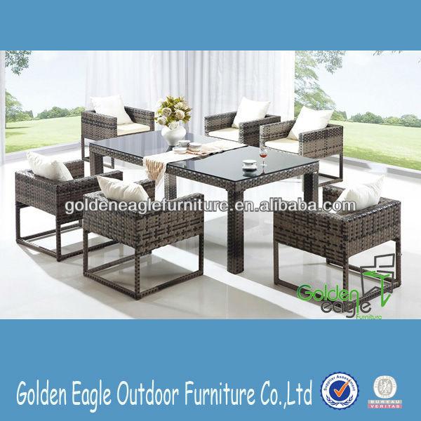 Garden rattan wicker table chairs with aluminum tube frame cheap garden furniture