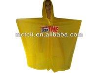 Disposable yellow cartoon CPE rain Poncho for kids