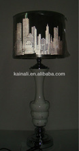 round table lamp shade with silver stand