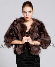 CX-G-A-121F Patchwork Women Genuine Fox Fur Fashion Jackets