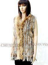 CX-G-B-03 New Fashion Style Knitted Women Rabbit Fur Vest