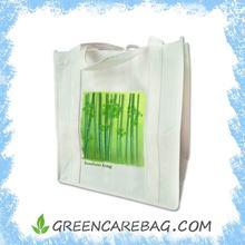 Green Bamboo Printed Foldable Eco Non Woven Shopping Bag