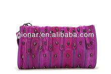 2014 New Product Fashion Woman Handbag/Genuine Leather Studded Skull Handbag/Lady Leather Clutch Bags Manufacturer W13635#