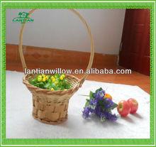 round flower wicker basket with handle