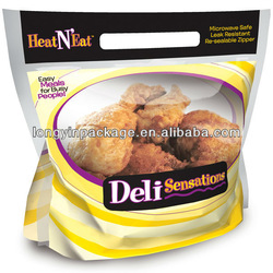 plastic microwave/anti fog bag for hot food/chicken/resealable hot chicken bag