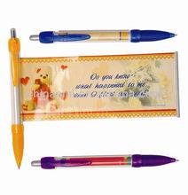 double-deck plastic advertisement pull paper pen