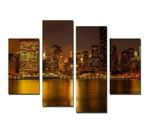 Modern City Night Seascape Canvas printings for Decoration