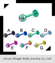Titanium Anodized Over 316L Surgical Stainless Steel Labret/Lip Piercing Jewelry & Monroes with Press Fit Gem Balls