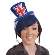 2015 Hot Sell New Union Jack Mini Top Hat British Jubilee Party Ladies Fancy Dress With Veil