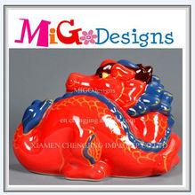 Art Gift Custom OEM Decor Red Ceramic Dragon Coin Bank