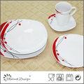 decalque vermelho fina porcelana jogo de jantar quadrado
