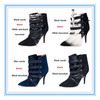 EU42 Plus Size Women Winter Boots,Pointed Toe Med Heel Trendy Boots,Western Design Fur Lined Boots