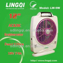 12''solar rechargeable fan