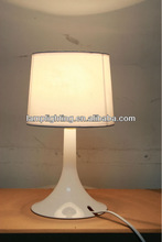 newest children colourful plastic table lamp with fabric shade and outlet power