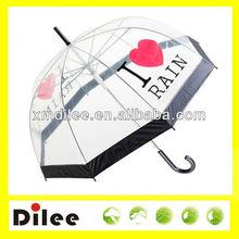 Love rain transparent logo printed u shape rib umbrella
