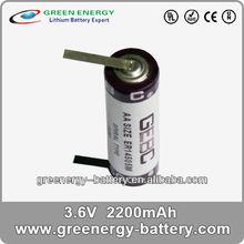 3.6v primary lithium battery ER14505 2600mah substitute tadiran 3.6v lithium battery
