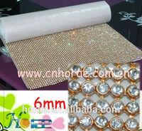 6mm gold base,crystal AB color crystal rhinestone mesh