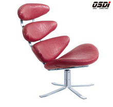 Swivel PU Pebble Lounge banana Chair(H048#)