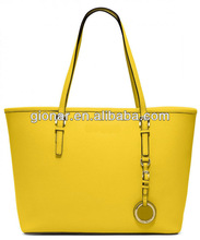 2015 New product yellow leather tote bag women/designer handbags lady/genuine leather bags manufacturer Guangzhou MX8103-5