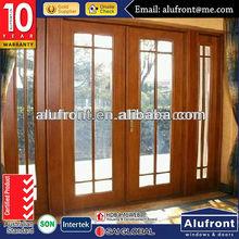aluminium wood swing outward door with grilles design