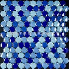 mix blue penny round glass tile , pebble glass mosaic , decorative wall bubble tile