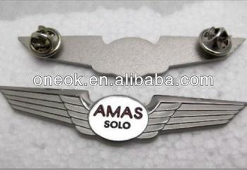 Nickel plating eagle wing badge, pilot pin badge, custom airplane badge
