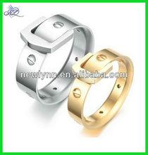 Silver/Golden Titanium Stainless Steel Personalized Buckle Belt Design Women/Men Wedding Band Couple Ring
