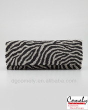 2015 bags Comely women h bags factory zebra-print beaded clutch high quality handbag designer handbag patterns of leather purses