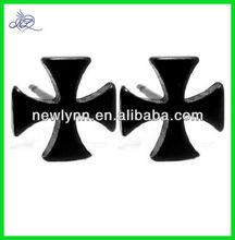 Black Maltese Iron Cross Stud Earrings, Anodized Hypoallergenic 316L Stainless Steel Posts, Matte Finish