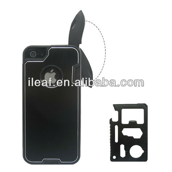 Brushed aluminum hard cell phone case for iPhone 5/5S with Camping Multifunction Knife
