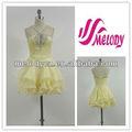 Lumière jaune en mousseline de soie élégant belle courroie de Spaghetti robe de soirée robe de Cocktail mode robes de soirée brillant avec des perles