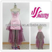 De color rosa y color de malva del satén y del Organza del amor elegante de encaje sin espalda con cordones de noche vestido de cóctel vestido de dama de moda vestido de noche