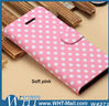Flip Stand Case with Card Slots PU Leather Polka Dots Case for iPhone 5C