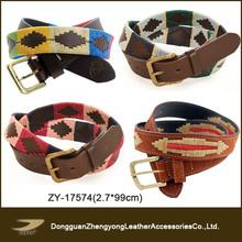 (ZY-17574) indian leather belts,polo belt,needlepoint belt suppliers
