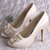 (12 Colors) Crystal and Pearl Wedding Shoes High Heel