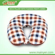 Polyester microbead neck pillow splaid travel airplane cushion