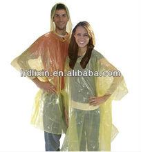 Rain Poncho In Vinyl Case printed /clear pe disposable rain poncho