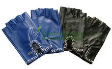 De las señoras cadena de metal recortado guantes sin dedos de piel por con hairsheep