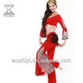 El último rojo de danza del vientre trajes, baratos de danza del vientre desgaste de la práctica, danza del vientre para la ropa las mujeres bailarín( qc1582)