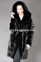 hot sale natural black mink fur coats for womens