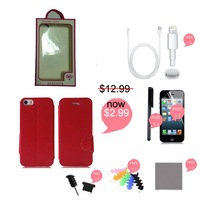 312 24h SALE!!! flip leather case for iphone 5 with free screen protector, free stylus pen, free charger cable