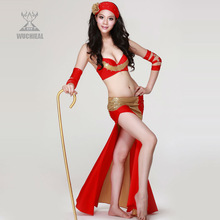 2014 Newest Wuchieal Dancing Costumes, Sexy Arab Red Bellydance Performance Wear,Belly Dance Performance Suit (QC2028)