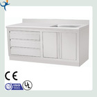 stainless steel kitchen cabinet with sink and three drawers