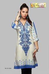 Indian Printed Embroidered Long Kurti kurta tunics tops tuinc kurti for ladies girls women Code 1056